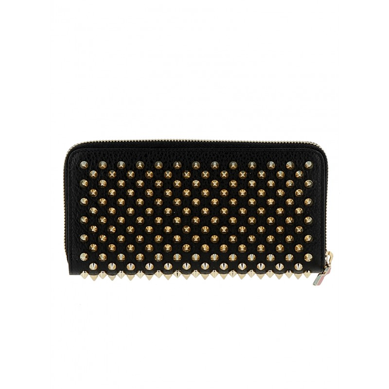 CHRISTIAN LOUBOUTIN WOMEN'S 1185059 CM6S BLACK/GOLD LEATHER WALLET