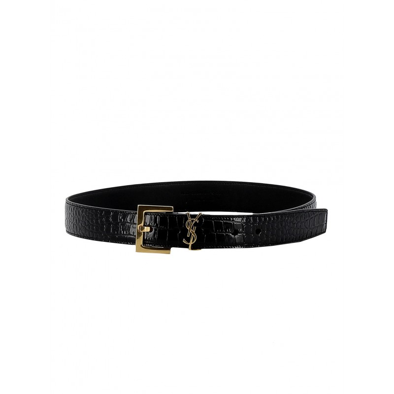 SAINT LAURENT 558088 DND0J 1000 WOMEN'S BLACK LEATHER BELT