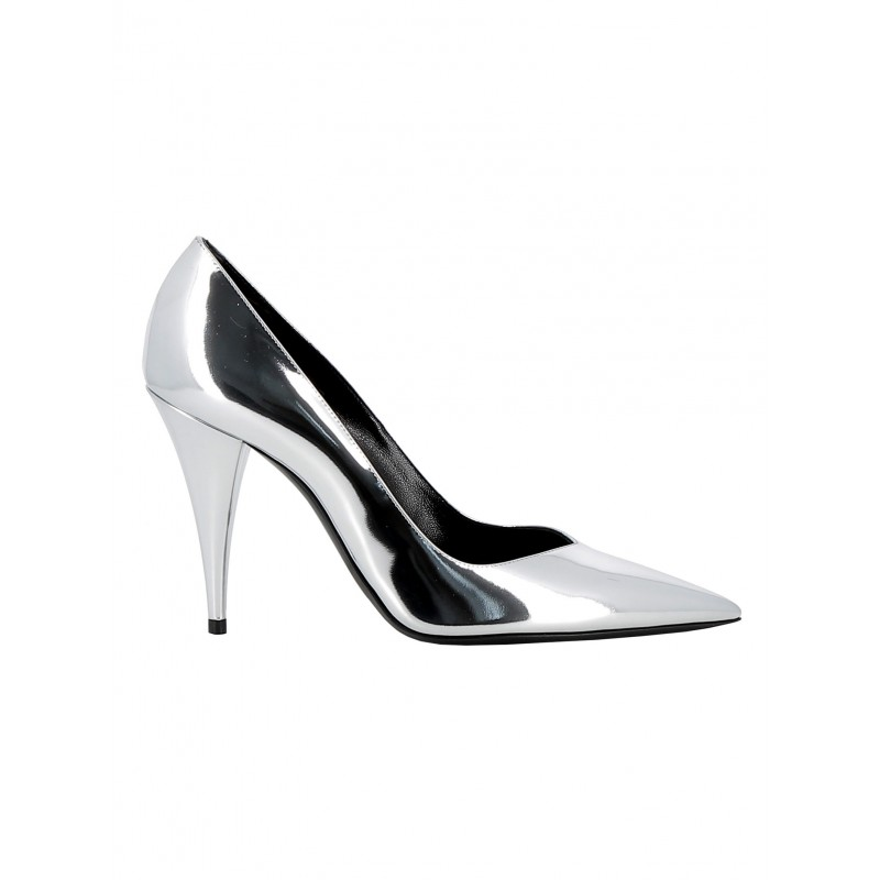 SAINT LAURENT 578599 AAL00 8105 WOMEN'S SILVER LEATHER PUMPS