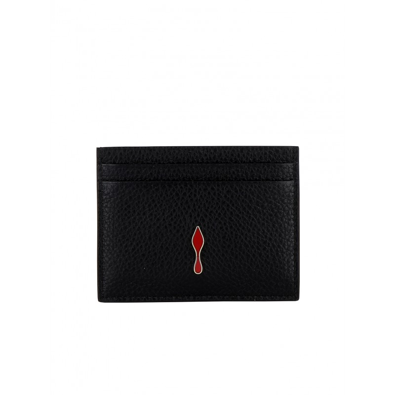 CHRISTIAN LOUBOUTIN 3195124 CM6S WOMEN'S BLACK/GOLD LEATHER WALLET