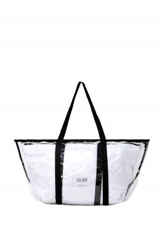 GUM BS BIG TRNSP+NYL WOMEN'S WHITE PVC TOTE