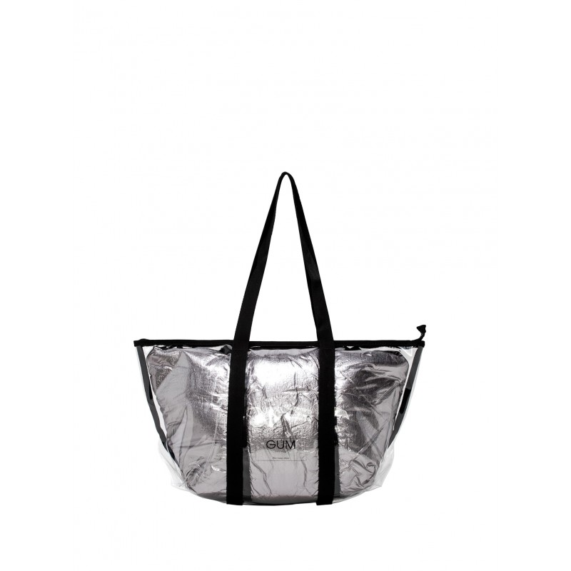GUM BS SMALL TRNSP+NYL WOMEN'S SILVER TOTE