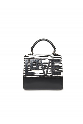LES PETITS JOUEURS MABW-CVZ-V10 WOMEN'S BLACK/WHITE LEATHER SHOULDER BAG
