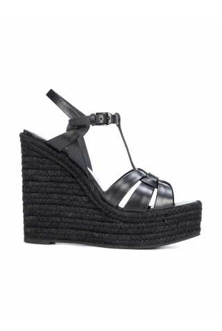 SAINT LAURENT 611924 BDA00 1000 BLACK LEATHER TRIBUTE ESPADRILLES WEDGE