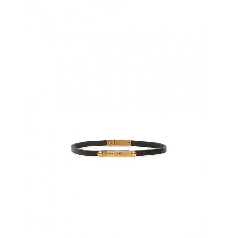 SAINT LAURENT 506148 0IH1W 1000 NARROW ID BRACELET IN BLACK LEATHER AND METAL