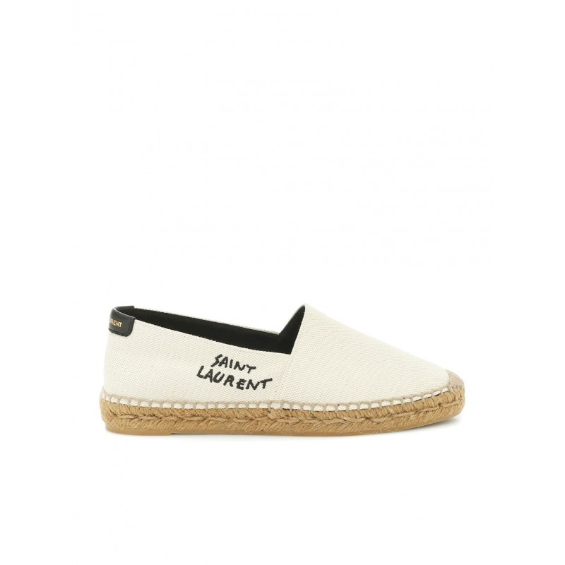SAINT LAURENT 605956 1P210 9380 EMBROIDERED ESPADRILLES IN BEIGE CANVAS