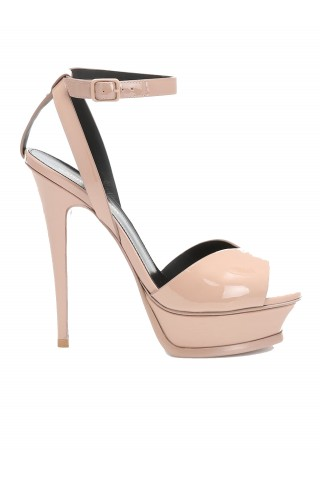 SAINT LAURENT 514897 B8I00 9935 TRIBUTE LIPS SANDALS IN NUDE PATENT LEATHER