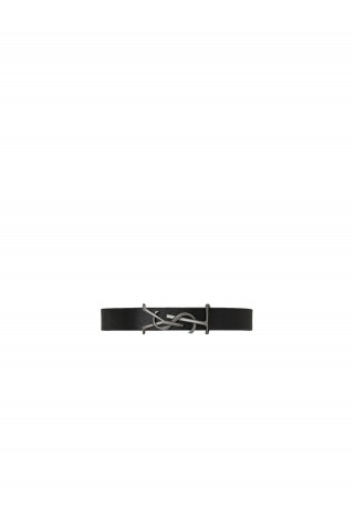 SAINT LAURENT 559355 0IH0R 1000 OPYUM BRACELET IN BLACK LEATHER