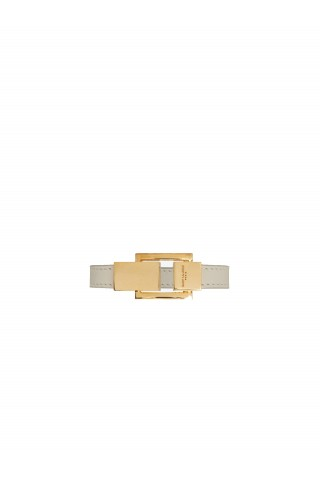 SAINT LAURENT 558104 05B3J 9207 CARRÉ BRACELET IN LEATHER AND METAL