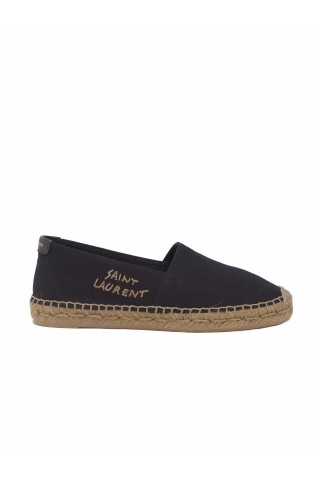 SAINT LAURENT 605956 1P210 1000 EMBROIDERED ESPADRILLES IN BLACK CANVAS