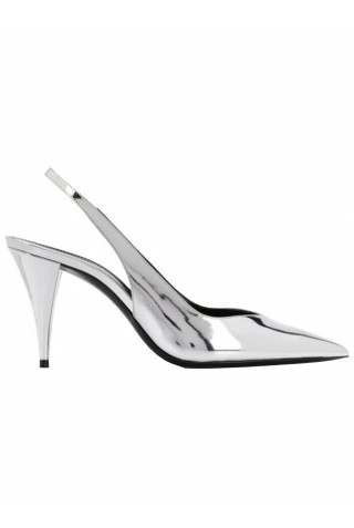 SAINT LAURENT 602632 AAL00 8105 KIKI SLINGBACKS IN SILVER LEATHER