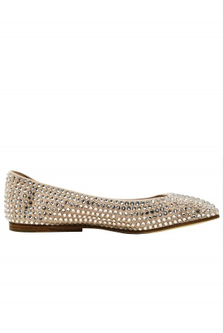 EDDY DANIELE ES200204 ROSE SWAROVSKI FLAT SHOES