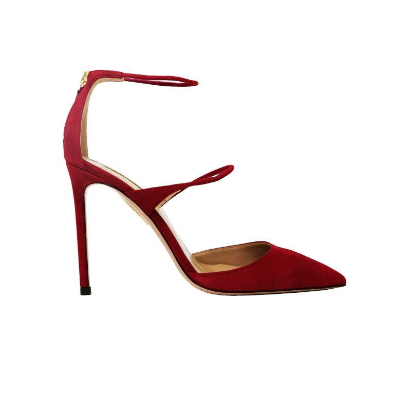 AQUAZZURA MITHIGP0-SUE-CYR RED SUEDE MINUTE PUMP 105