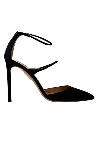 AQUAZZURA MITHIGP0-SUE-000 BLACK SUEDE MINUTE PUMP 105