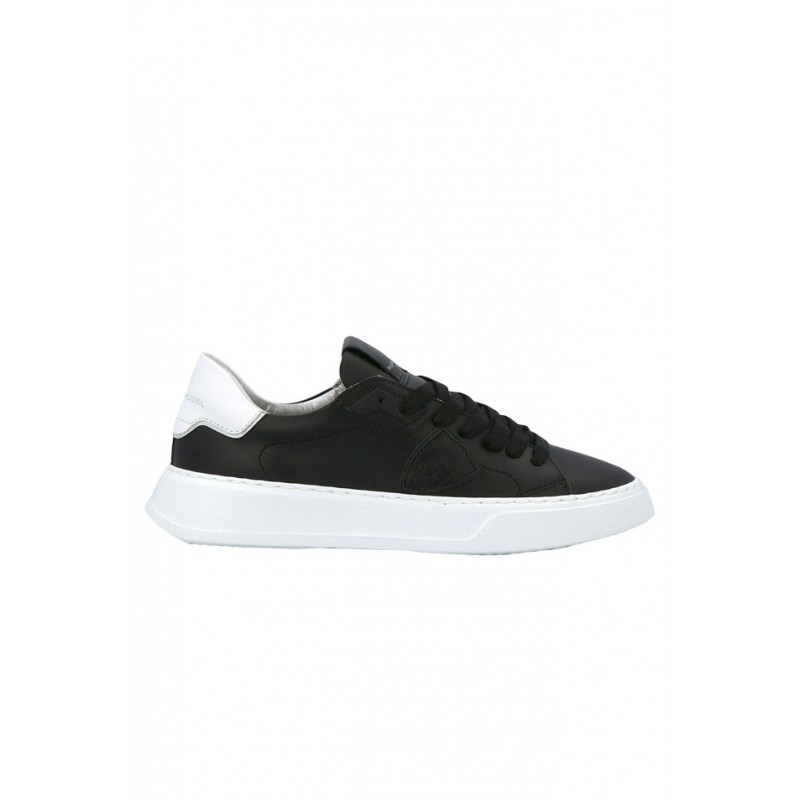PHILIPPE MODEL BTLD V005 BLACK LEATHER TEMPLE SNEAKERS