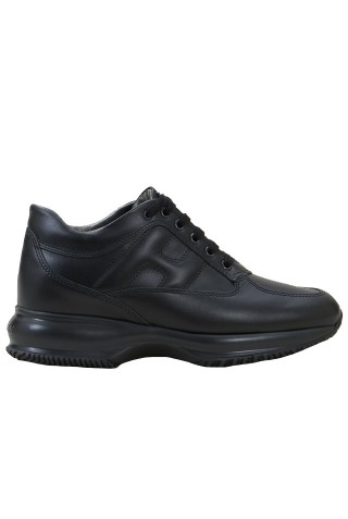 HOGAN HXW00N00010HQKB999 BLACK LEATHER INTERACTIVE SNEAKERS