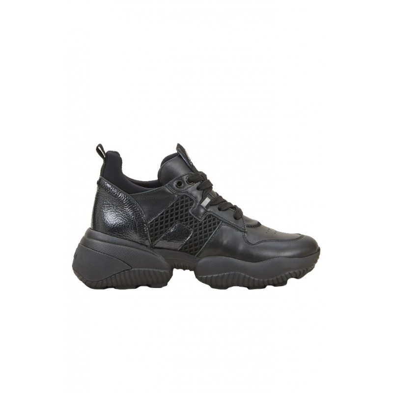 HOGAN HXW5250CW70OKWB999 BLACK LEATHER INTERACTION SNEAKERS
