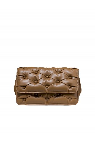 BENEDETTA BRUZZICHES 4585 BROWN LEATHER CARMEN CLUTCH BAG