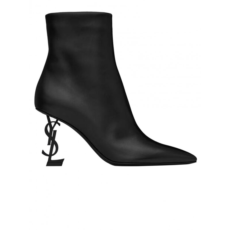 SAINT LAURENT 563754 0RRUU 1000 BLACK LEATHER OPYUM 85 ANKLE BOOTS
