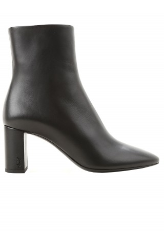 SAINT LAURENT 529350 0RRVV 1000 BLACK LEATHER LOU 70 PIN ZIP ANKLE BOOTS