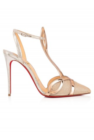 CHRISTIAN LOUBOUTIN 1210102 J205 NUDE-SILVER DOUBLE L PUMP