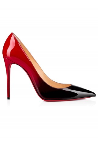 CHRISTIAN LOUBOUTIN 3191412 M283 BLACK - RED DEGRADE PATENT KATE 100 PUMPS