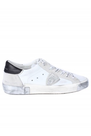 PHILIPPE MODEL PRLD MA02 WHITE/BLACK LEATHER SNEAKERS