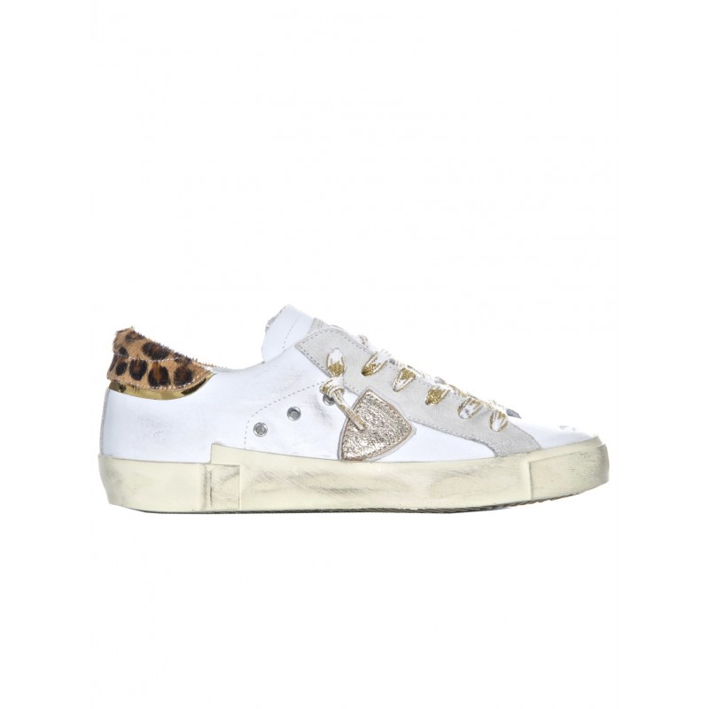 PHILIPPE MODEL PRLD VL03 WHITE/LEOPARD LEATHER SNEAKERS
