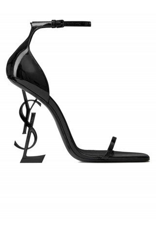 SAINT LAURENT 557662 0NPVV 1000 BLACK PATENT OPYUM SANDALS