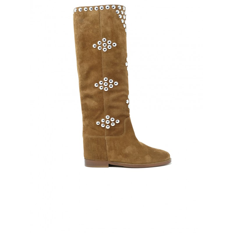 VIA ROMA 15 3500/3 TAN STUDS SUEDE BOOTS