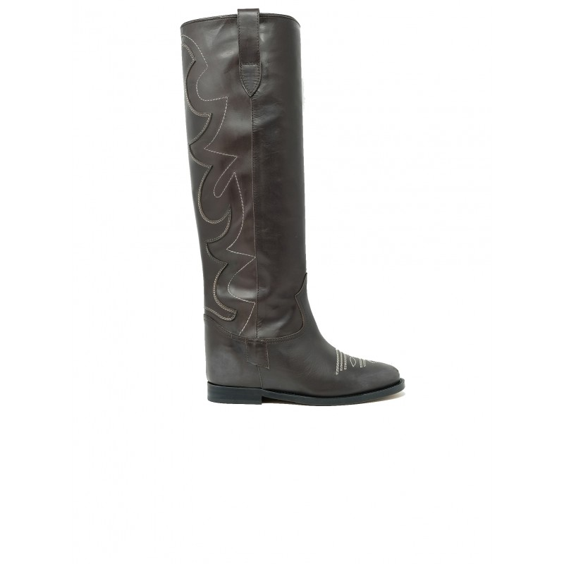 VIA ROMA 15 3515/2 BROWN LEATHER BOOTS