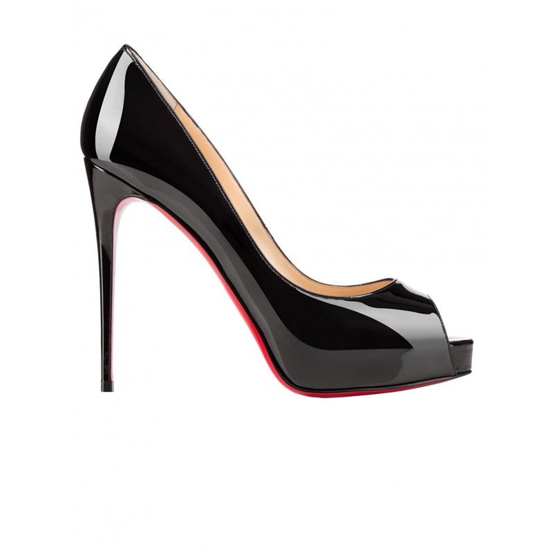 CHRISTIAN LOUBOUTIN 1150600 BK01 NEW VERY PRIVE 120 BLACK PATENT LEATHER OPEN TOE