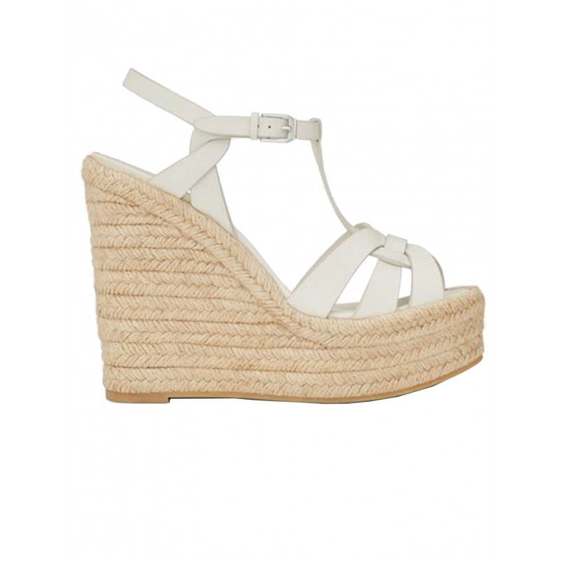 SAINT LAURENT 611924 BZC00 9008 WHITE LEATHER TRIBUTE WEDGE