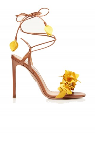 AQUAZZURA BUGHIGSO-SUN-MLC BOUGAINVILLAE MULTICOLOR LEATHER SANDALS