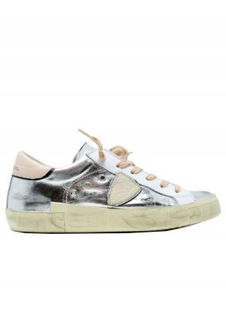 PHILIPPE MODEL PRLD M010 LEATHER SILVER ARGENT ROSE SNEAKERS