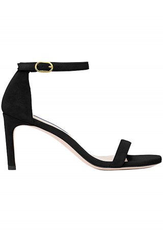 STUART WEITZMAN S2244 NUNAKEDSTR AIGHT BLACK LEATHER SANDALS