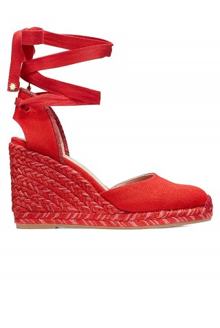 STUART WEITZMAN S1132 MARGUERITA RED CANVAS WEDGE