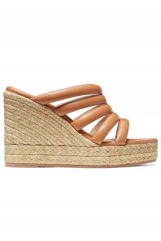 STUART WEITZMAN S0092 LILYANA ESPADRILLE TAN LEATHER WEDGE
