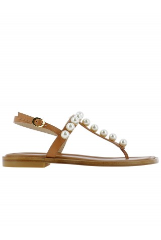 STUART WEITZMAN S4576 GOLDIE T-STRAP TAN LEATHER FLAT SANDALS