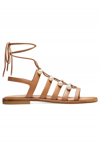 STUART WEITZMAN S4569 GOLDIE LACE-LIP TAN LEATHER FLAT SANDALS