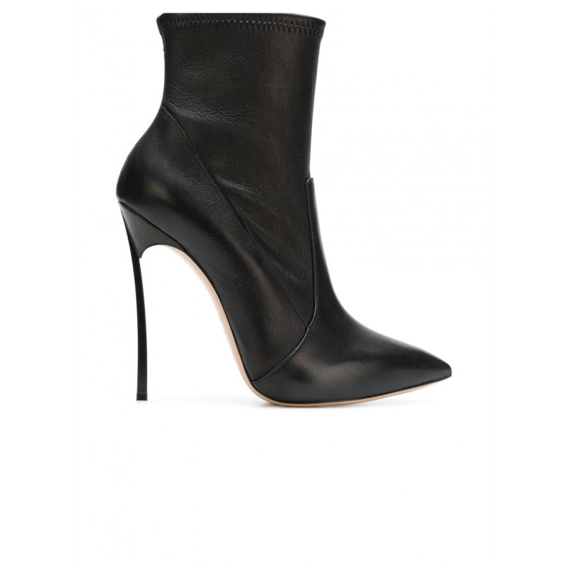 CASADEI 1R66E5E120HHNAGU9000 BLACK LEATHER BLADE ANKLE BOOTS