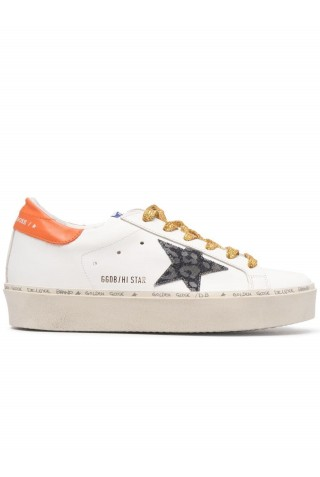 GOLDEN GOOSE GWF00118.F000216.80242 WHITE LEATHER HI STAR SNEAKERS