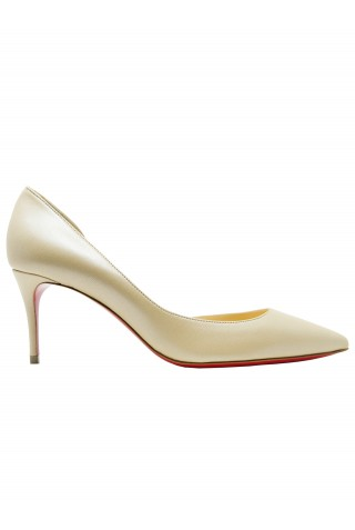 CHRISTIAN LOUBOUTIN 1211020 N252 IRIZA 70 NAPPA IRISE BEIGE LEATHER PUMPS