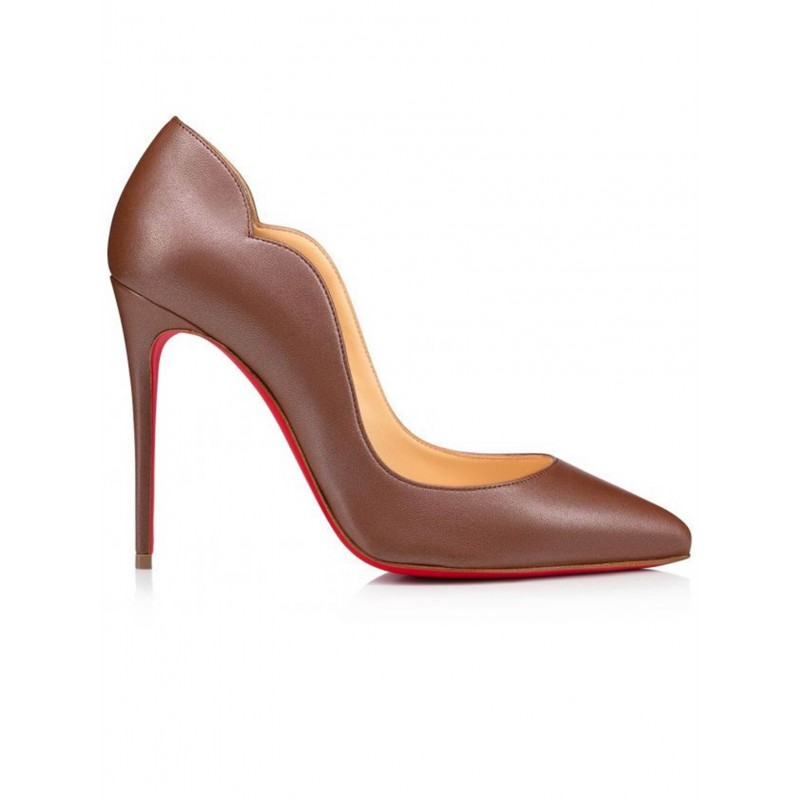 CHRISTIAN LOUBOUTIN 1210993 BG7R BROWN LEATHER HOT CHICK PUMPS