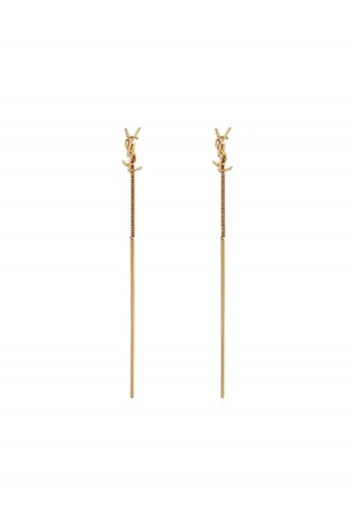SAINT LAURENT 618031 Y1500 8030 GOLD BRASS EARRINGS WITH LOGO