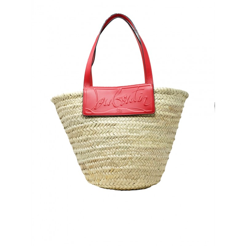 CHRISTIAN LOUBOUTIN 1215220 J459 LOUBISHORE WOVEN STRAW/CALF PARIS BEIGE RAFFIA AND RED LEATHER BAGS