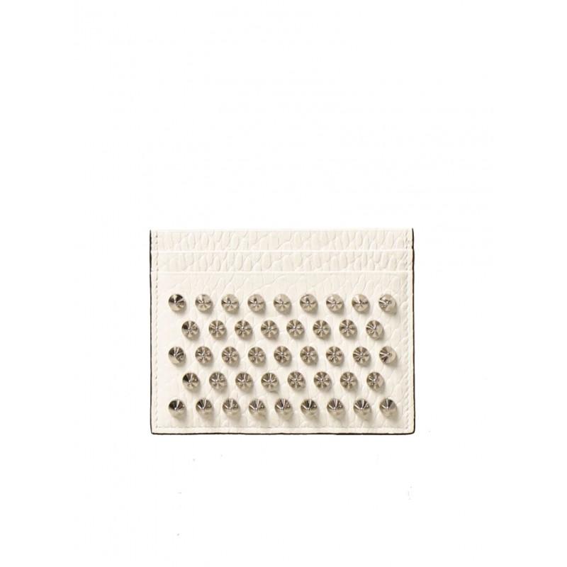 CHRISTIAN LOUBOUTIN 3205078 H924 WHITE SILVER SNAKE PRINTED W KIOS CARDHOLDER