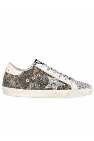 GOLDEN GOOSE GWF00101.F001638.80828 CAMOUFLAGE GLITTER SUPERSTAR SNEAKERS
