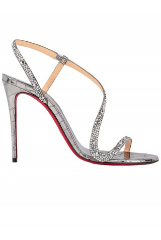 CHRISTIAN LOUBOUTIN 3210484 S260 SILVER LEATHER ROSALIE STRASS 100 SANDALS WITH SWAROVSKI