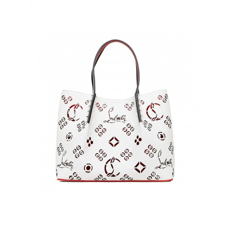 CHRISTIAN LOUBOUTIN 3215114 W377 WHITE LEATHER CABAROCK LOUBINTHESKY SMALL BAG